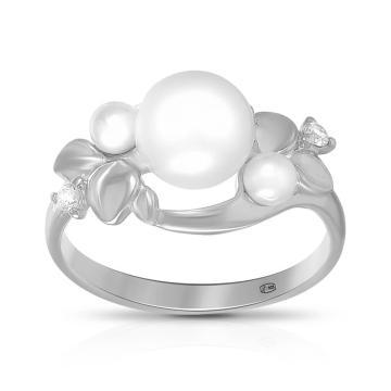 Кольцо SOKOLOV из серебра с жемчугом и фианитами