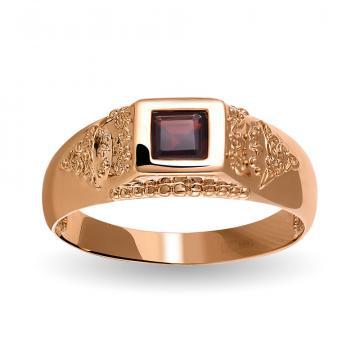Кольцо-печатка из золота с гранатом