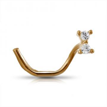 Пирсинг в нос из золота с фианитами