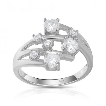 Кольцо из серебра с кварцем и фианитами
