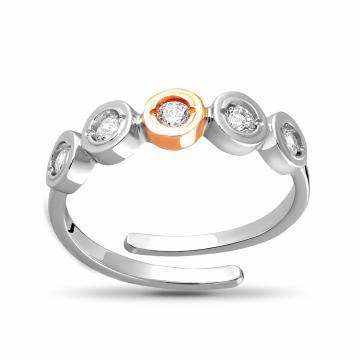 Кольцо из золота и серебра с фианитами, коллекция АНДОРА