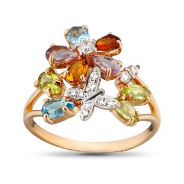 Кольцо из золота с самоцветами и фианитами