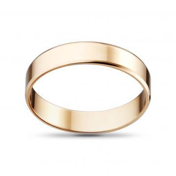 Кольцо обручальное из золота гладкое, плоское, 4 мм