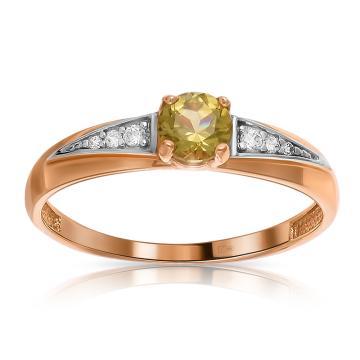 Кольцо из золота с хризолитом и фианитами