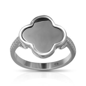 Кольцо из серебра с керамикой и фианитами, коллекция КЛЕВЕР
