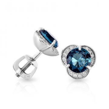 Серьги-пусеты из серебра с ювелирным кристаллом и фианитами