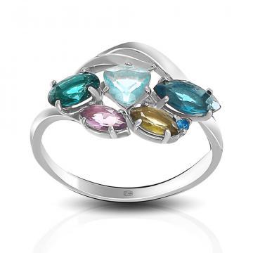 Кольцо из серебра с аметистом, турмалином,топазом и фианитом
