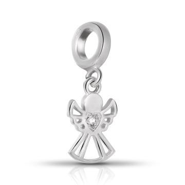 Подвеска-шарм Ангел из серебра с фианитом