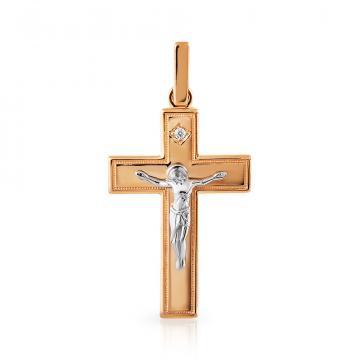 Крестик с фианитом из золота