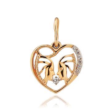 Подвеска из золота с фианитами, знак зодиака Близнецы