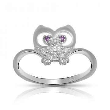 Кольцо Сова из серебра с алпанитами и фианитами