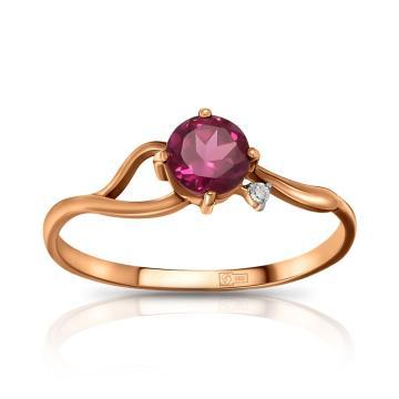 Кольцо из золота с родолитом и фианитом