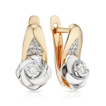 Серьги Розы из золота с бриллиантами