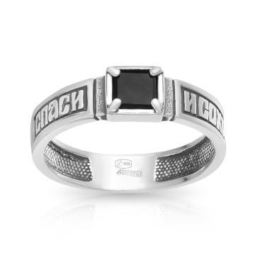 Кольцо Спаси и сохрани из серебра с ониксом