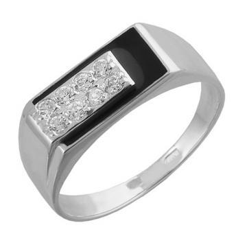 Кольцо-печатка из серебра с эмалью и фианитами