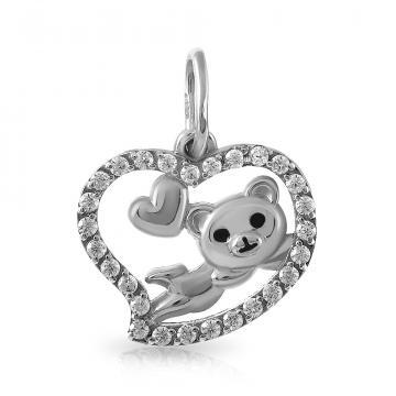 Подвеска Сердце из серебра с эмалью и фианитами