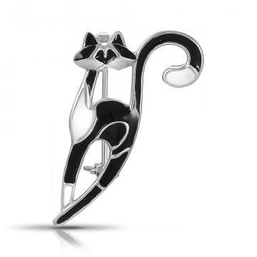 Брошь Кот из серебра с эмалью