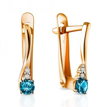 Серьги из золота с топазами и бриллиантами