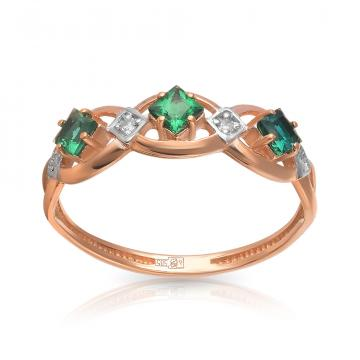 Кольцо TALANT из золота с изумрудом и бриллиантами