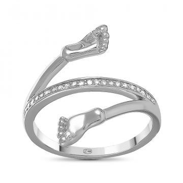 Кольцо Пяточки из серебра с фианитами