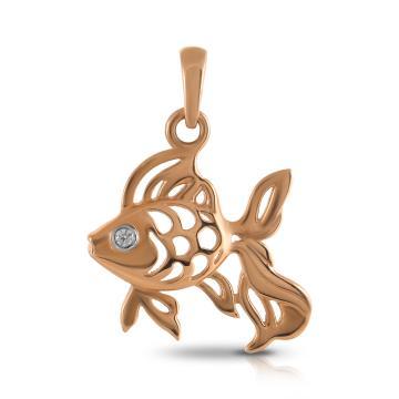 Подвеска TALANT Рыбка из золота с фианитом