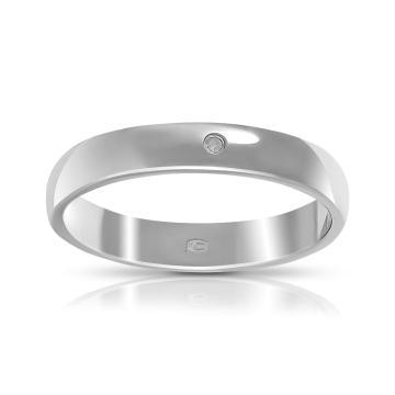 Кольцо обручальное TALANT из серебра с бриллиантом