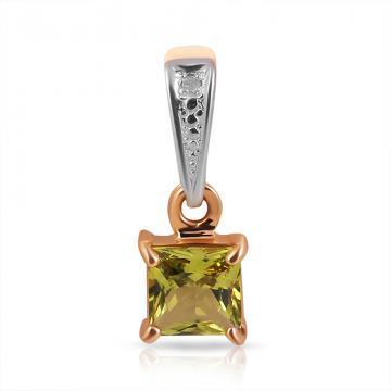 Подвеска из золота с хризолитом и бриллиантом