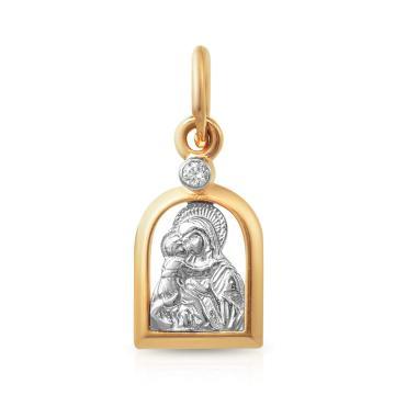 Подвеска-икона Владимирской Божией Матери из золота с фианитом