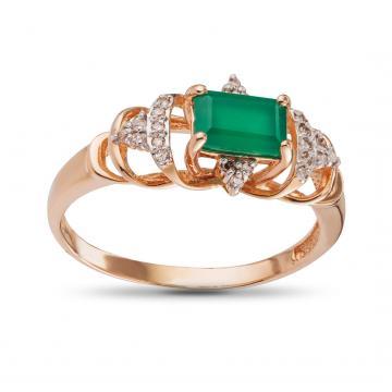 Кольцо с агатом и бриллиантами из золота
