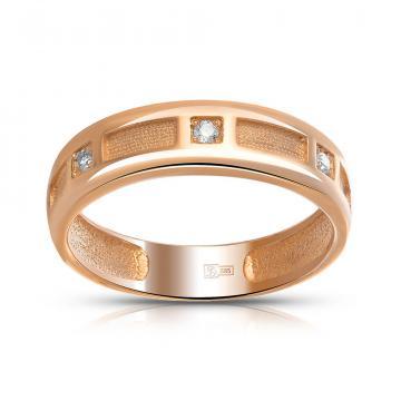 Кольцо обручальное из золота с фианитами