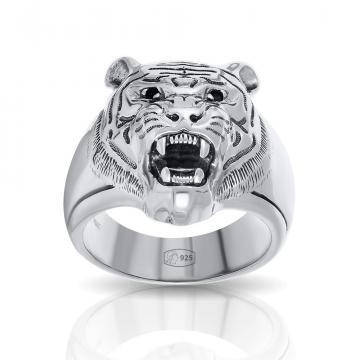 Кольцо-печатка SOKOLOV Тигр из серебра с фианитами