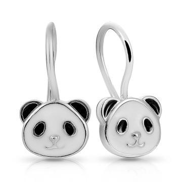Серьги детские Панда из серебра с эмалью