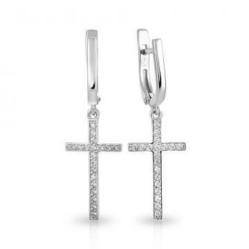 Серьги Крестики из серебра, коллекция Рок-н-Ролл