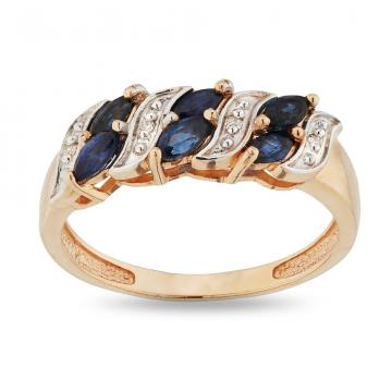 Кольцо из золота с сапфирами и бриллиантами