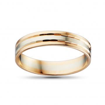 Кольцо обручальное из золота, синтеринг 4 мм