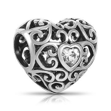 Подвеска-шарм Сердце сиз серебра с фианитом