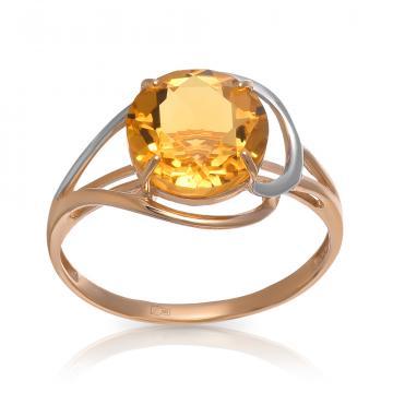 Кольцо из золота с цитрином