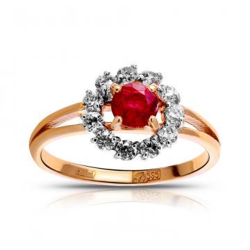 Кольцо из золота с рубином и фианитами