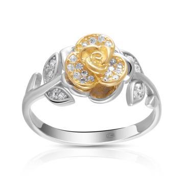 Кольцо Роза из серебра с фианитами