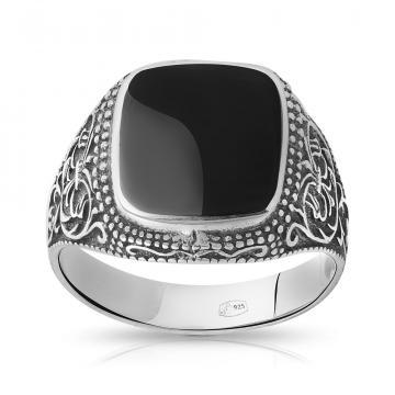 Кольцо-печатка из серебра с обсидианом