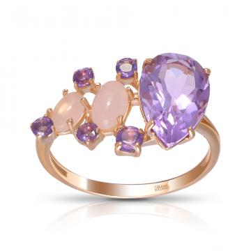Кольцо из золота с кварцем и аметистами