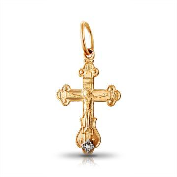 Крестик из золота с фианитом