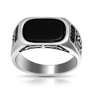Кольцо из серебра с агатом и фианитами