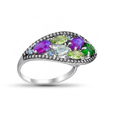 Кольцо из серебра с изумрудом, опалом, топазом, хризолитом и фианитами