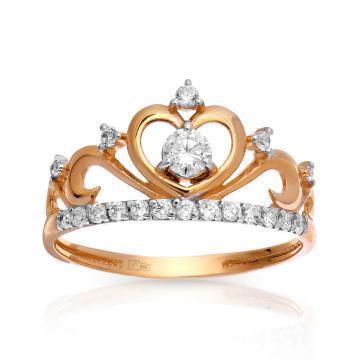 Кольцо Корона из золота с фианитами