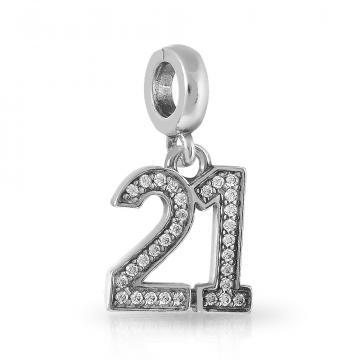 Подвеска-шарм Цифра 21 из серебра с фианитами