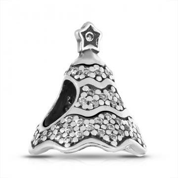 Подвеска-шарм Ёлка из серебра с фианитами