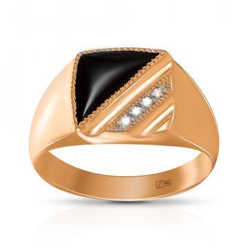 Кольцо-печатка из золота с агатом и бриллиантами