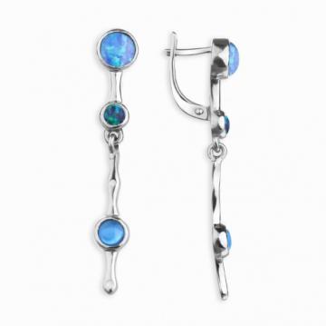 Серьги из серебра с опалом и ювелирными кристаллами