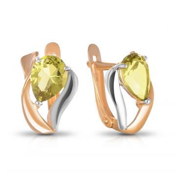 Серьги из золота с хризолитами